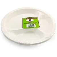 White Plastic Plates with Three Compartments 26cm 6pcs