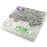 Black And White Paisley Napkins 3ply 20pc