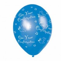 Confirmation Blue Latex Balloons - (All Over Print) - 27.5cm - Pack of 25