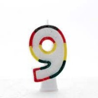 Age 9 Multi Colour Candle Neutral (Pack of 6)