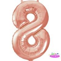 "34"" Rose Gold Number 8 foil balloon"