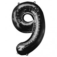 "34"" Black Number 9 foil balloon"