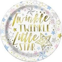"Twinkle Twinkle Little Star 9"" foil plates 8ct"