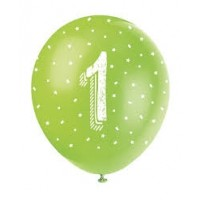 "Age 1 5CT 12"" Helium Fill Latex Balloon- Pearlized Assorted Colours, Printed All Around - 5ct"