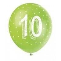 "Age 10  5CT 12"" Helium Fill Latex Balloon- Pearlized Assorted Colours, Printed All Around - 5ct"