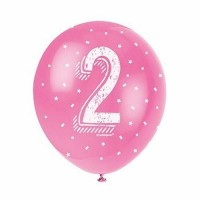 "Age 2 5CT 12"" Helium Fill Latex Balloon- Pearlized Assorted Colours, Printed All Around - 5ct"