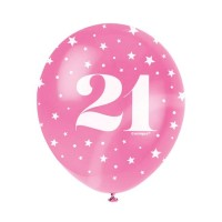 "Age 21  5CT 12"" Helium Fill Latex Balloon- Pearlized Assorted Colours, Printed All Around - 5ct"