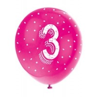 "Age 3 5CT 12"" Helium Fill Latex Balloon- Pearlized Assorted Colours, Printed All Around - 5ct"
