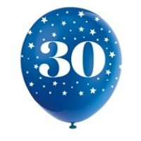 "Age 30  5CT 12"" Helium Fill Latex Balloon- Pearlized Assorted Colours, Printed All Around - 5ct"