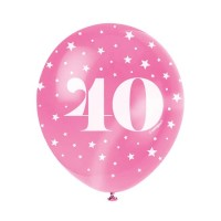 "Age 40  5CT 12"" Helium Fill Latex Balloon- Pearlized Assorted Colours, Printed All Around - 5ct"