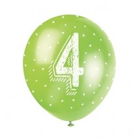 "Age 4  5CT 12"" Helium Fill Latex Balloon- Pearlized Assorted Colours, Printed All Around - 5ct"