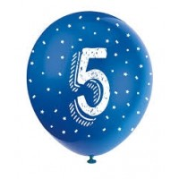 "Age 5 5CT 12"" Helium Fill Latex Balloon- Pearlized Assorted Colours, Printed All Around - 5ct"