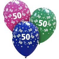 """Stars and Streamers Age 50 Multi Colour 12"""" Latex 25ct"""