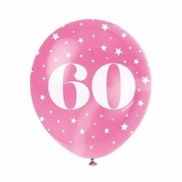 "Age 60  5CT 12"" Helium Fill Latex Balloon- Pearlized Assorted Colours, Printed All Around - 5ct"