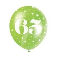 "Age 65  5CT 12"" Helium Fill Latex Balloon- Pearlized Assorted Colours, Printed All Around - 5ct"
