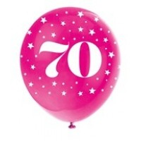 "Age 70  5CT 12"" Helium Fill Latex Balloon- Pearlized Assorted Colours, Printed All Around - 5ct"