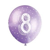 "Age 8  5CT 12"" Helium Fill Latex Balloon- Pearlized Assorted Colours, Printed All Around - 5ct"