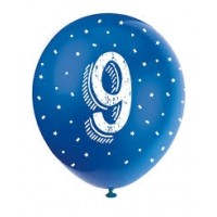 "Age 9  5CT 12"" Helium Fill Latex Balloon- Pearlized Assorted Colours, Printed All Around - 5ct"