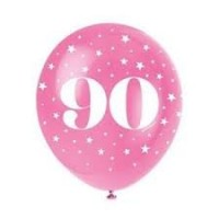 "Age 90  5CT 12"" Helium Fill Latex Balloon- Pearlized Assorted Colours, Printed All Around - 5ct"