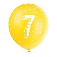 "Age 7 5CT 12"" Helium Fill Latex Balloon- Pearlized Assorted Colours, Printed All Around - 5ct"