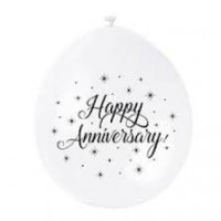 "Happy Anniversary 9"" Latex Air Fill Balloon - Assorted Colours, Printed 1 Side - 10ct."