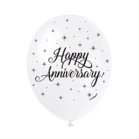 "Happy Anniversary 5CT 12"" Helium Fill Latex Balloon- Pearlized , Printed All Around - 5ct"