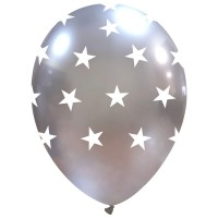 "Silver Chromium Stars 12"" Latex 25Ct"