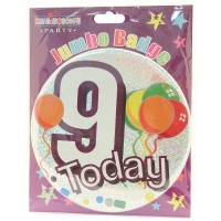 Age 9 Unisex Party Badge (15cm)