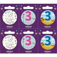 Age 3 Small Badges (5.5cm)