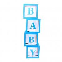 Baby Balloon Boxes Blue 30x30x30cm (set of 4)