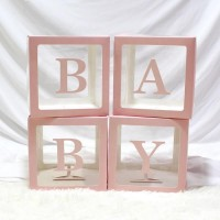 Baby Balloon Boxes Pink 30x30x30cm (set of 4)