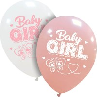 """Baby Girl Butterfly 12"""" Latex Balloons 25Ct"""