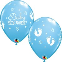 "Baby Shower - Footprints & Hearts 11"" Latex Balloons - Blue 25Ct"