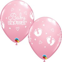 "Baby Shower - Footprints & Hearts 11"" Latex Balloons - Pink 25Ct"