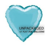 "Baby Blue - Heart Shape - 18"" foil balloon (Pack of 12, Flat)"