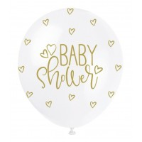 "Baby Shower Gold  5CT 12"" Helium Fill Latex Balloon- Pearlized  Printed All Around - 5ct"