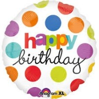 "Happy Birthday Dots 18""Foil Balloon"