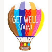 "Get Well Soon Hot Air Balloon Shape 18"" Foil Balloon"