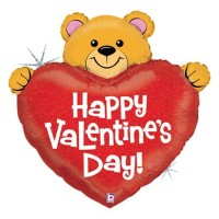 "Big Heart Valentine Bear 37"" Foil Balloon"