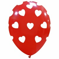 """Big Hearts - White on Red 12"""" Superior Latex Balloons 25Ct"""