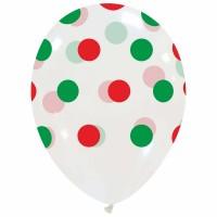 "Big Polka Dots Christmas 12"" Latex Balloons 25Ct"