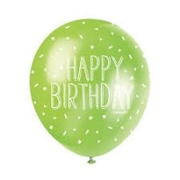 "Happy Birthday  5CT 12"" Helium Fill Latex Balloon- Pearlized Assorted Colours, Printed All Around - 5ct"