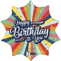 "Birthday Bursting Colours Happy Birthday 18"" Foil Balloon"