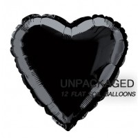 "Black - Heart Shape - 18"" foil balloon (Pack of 12, Flat)"
