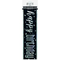 Black/Silver Glitz Foil Happy Birthday Banner 9FT