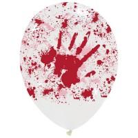 "Bloody Hands Halloween Superior 12"" Latex Balloons 25Ct"