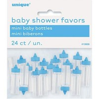 Mini Plastic Blue Baby Bottles - 24ct