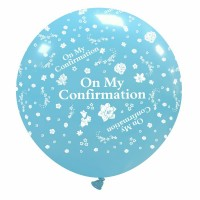"""On My Confirmation 32"""" Blue Giant Latex Balloon"""