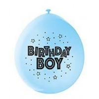 "Birthday Boy 9"" Latex Air Fill Balloon - Assorted Colours, Printed 1 Side - 10ct."