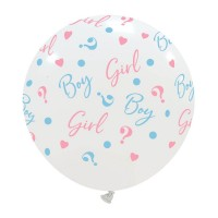 "Boy or Girl? Gender Reveal White 24"" Latex Balloon 1ct"